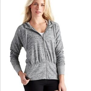 Athleta S Marled Gray Sweater Knit Zip Up Hoodie